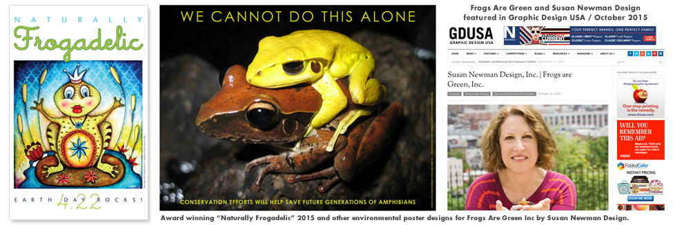 Naturally Frogadelic award winning poster, frog conservation poster, susan newman featured in GD USA