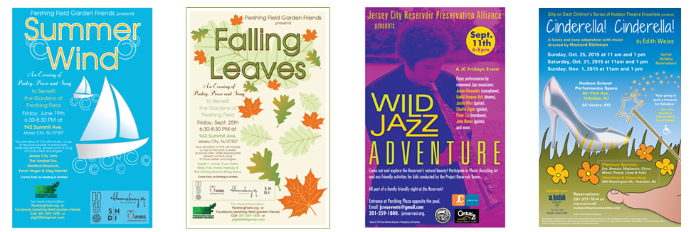 Theatre, Jazz and Environmental posters for Jersey City and Hoboken