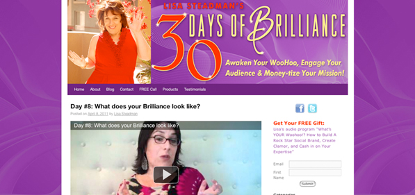 Lisa Steadman 30 Days of Brilliance Video Series - Branding design