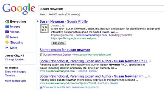 susan newman #1 spot on google