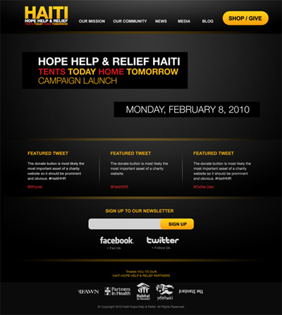 Hope Help & Relief Haiti website by Just Creative Design
