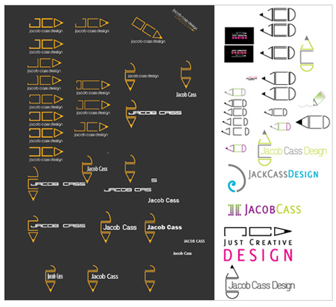 development process sketches for Just creative design logo