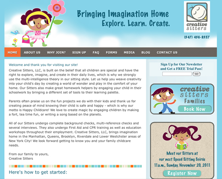 Creative Sitters website design