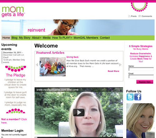 Mom Gets A Life - website design