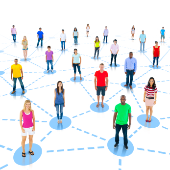 social media network of people sharing information