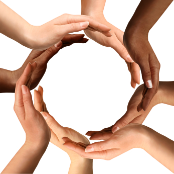 Multi Ethnic Hands Making a Circle