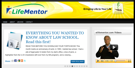 e life mentor web page