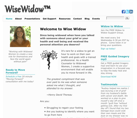 WiseWidow.com - Health Counselor for Widowed Women