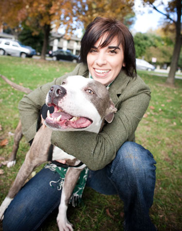 Kim Dow of Kalico design with dog