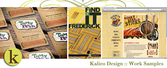 Kalico Design- work samples of print marketing, packaging