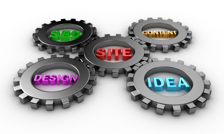 website structure gears- content, design, seo, ideas