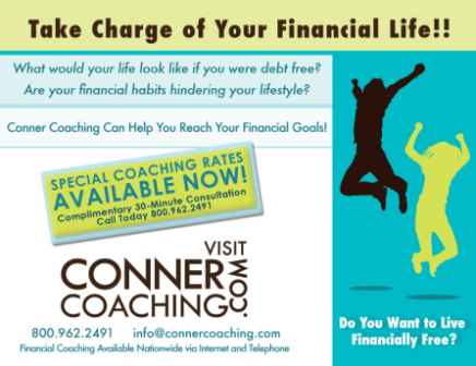 Conner Coaching - Take Charge of Finances Postcard Design