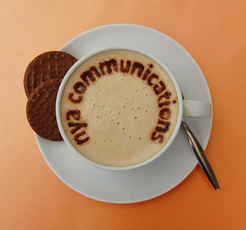 NYA Communications - Fun Logo for social media - name in cappuccino