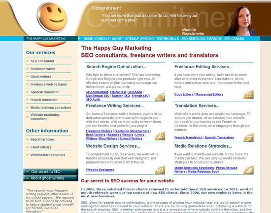 happy guy marketing website