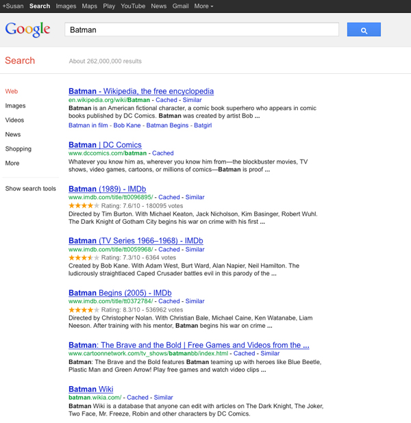 Google results for Batman