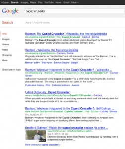 google search results for caped crusader