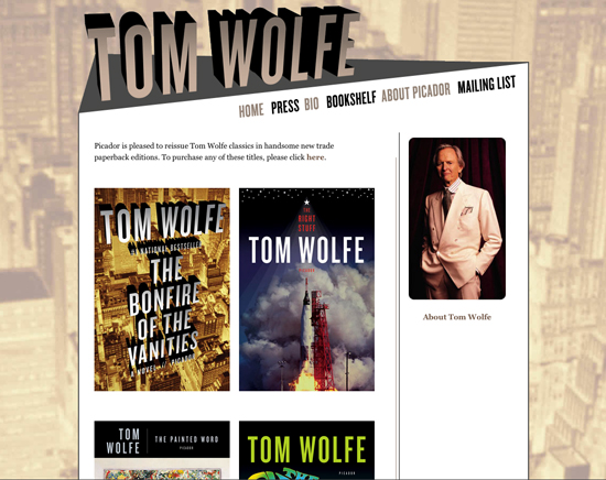 Tom Wolfe website design - branded authors