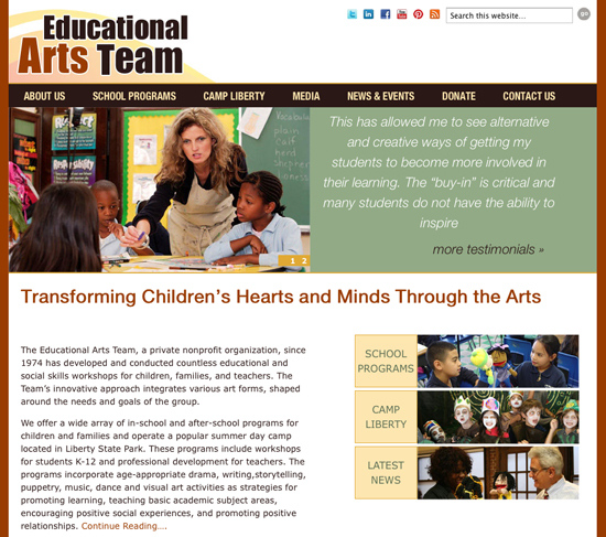WordPress responsive custom theme for educational arts team of jersey city