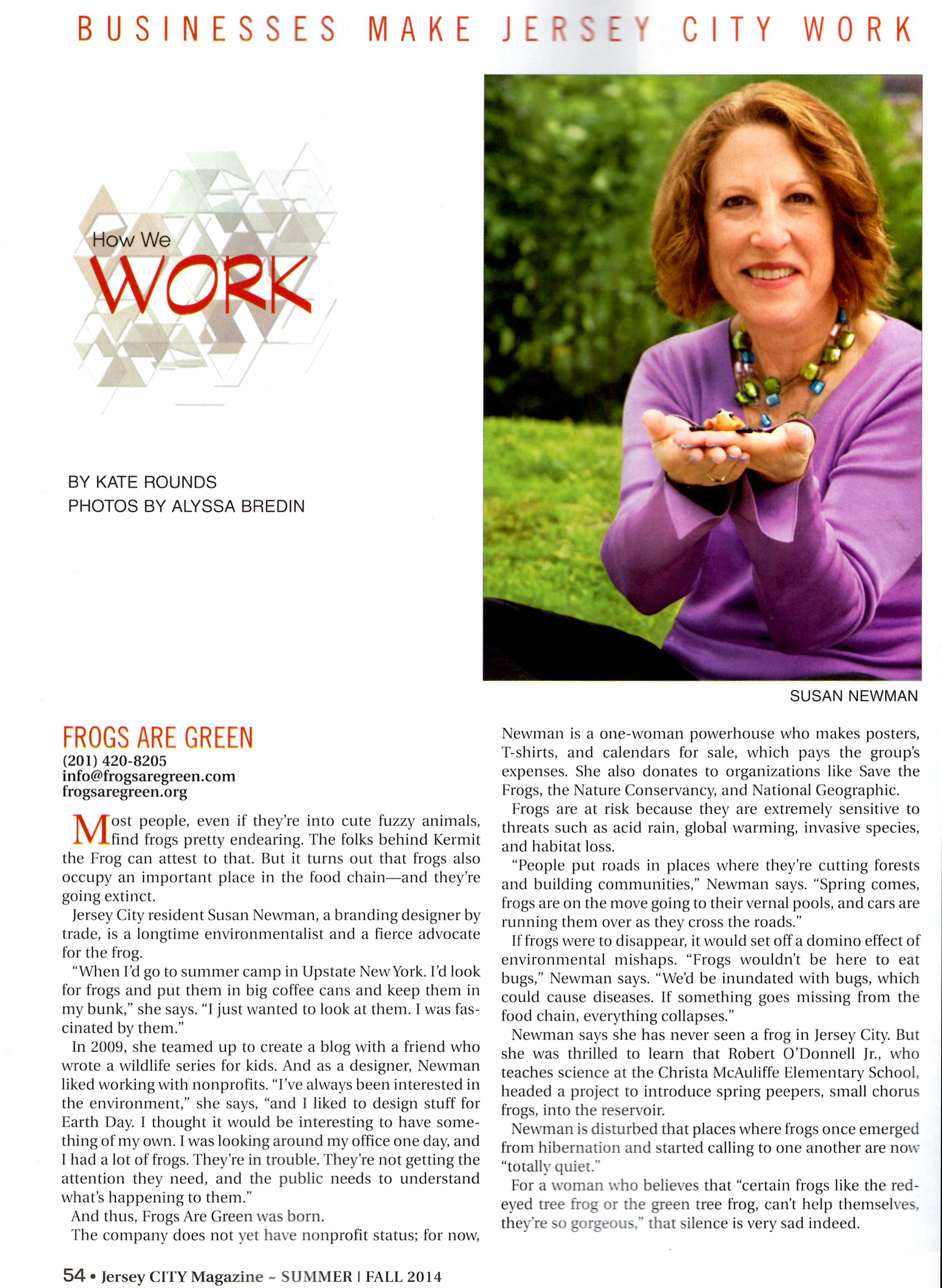 Susan Newman, brand visibility designer and founder of Frogs Are Green interviewed by Jersey City Magazine