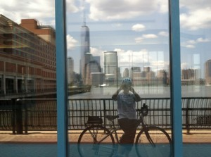 bicycle reflection in window and World Trade Center