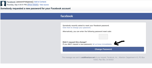 Facebook security alert
