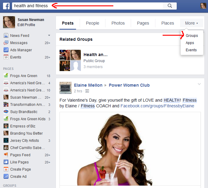 searching facebook for target groups