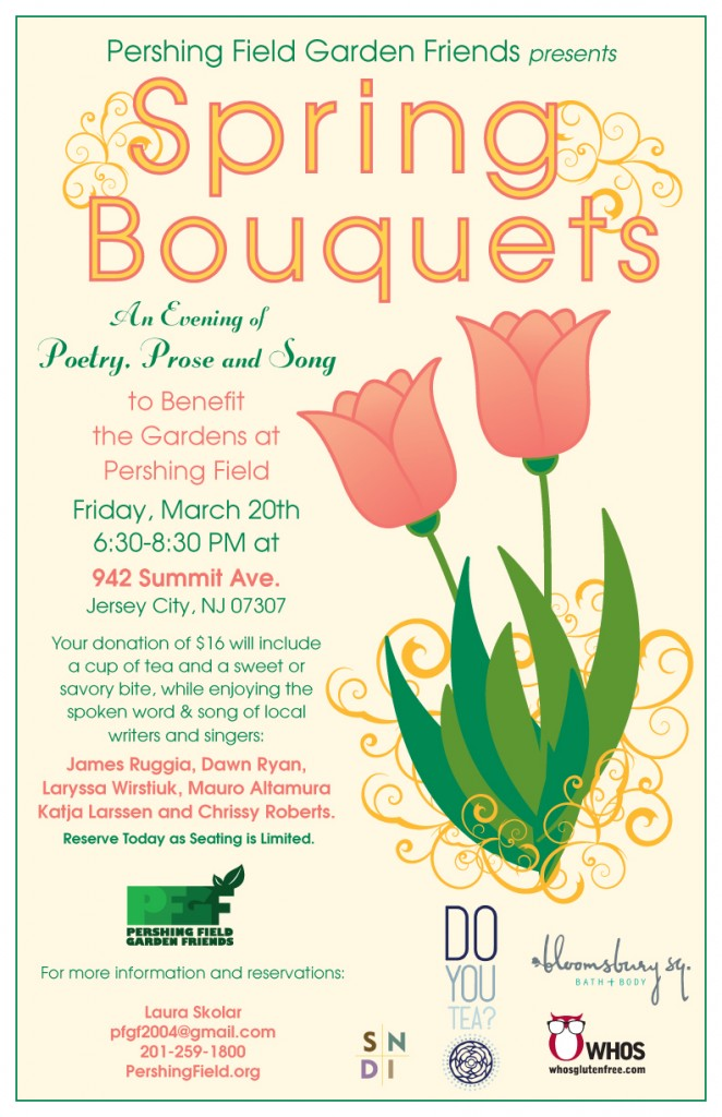 Spring Bouquets - An evening of Poetry, Prose and Song - Fundraiser for Pershing Field Garden Friends - Poster design by Susan Newman Design