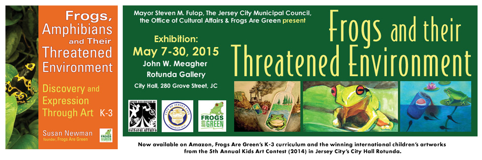 Frog curriculum book and environmental art exhibition by children at Jersey City City Hall.