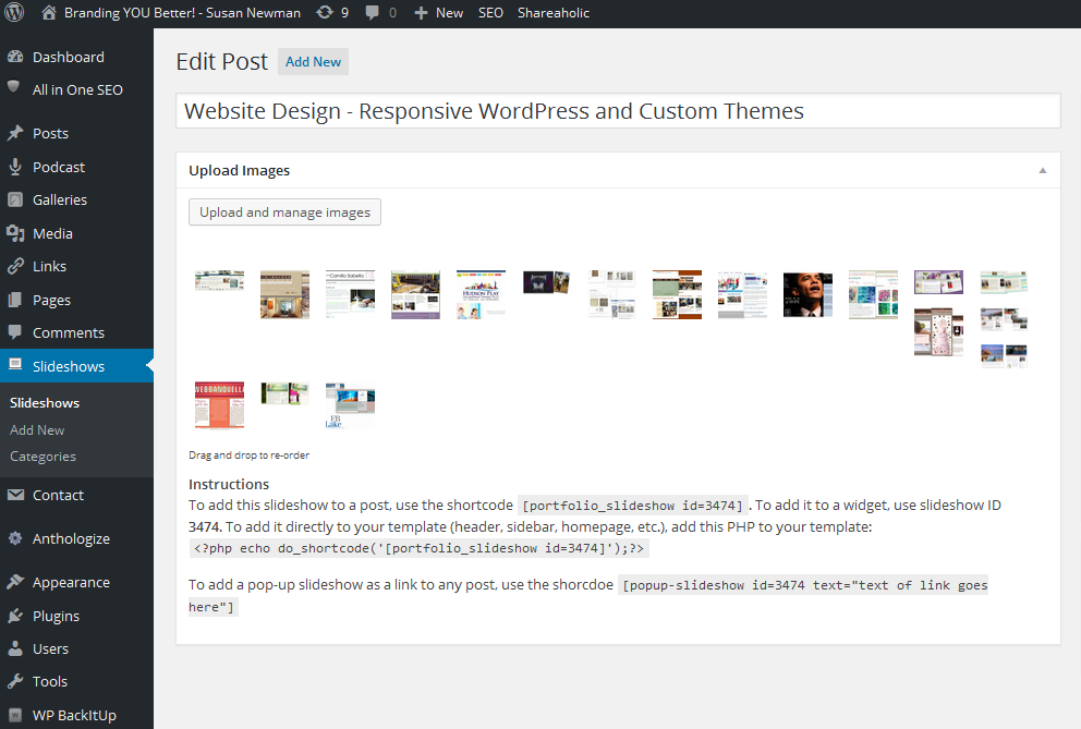 Portfolio Slideshow Pro WordPress plugin showing gallery images of Website Design.