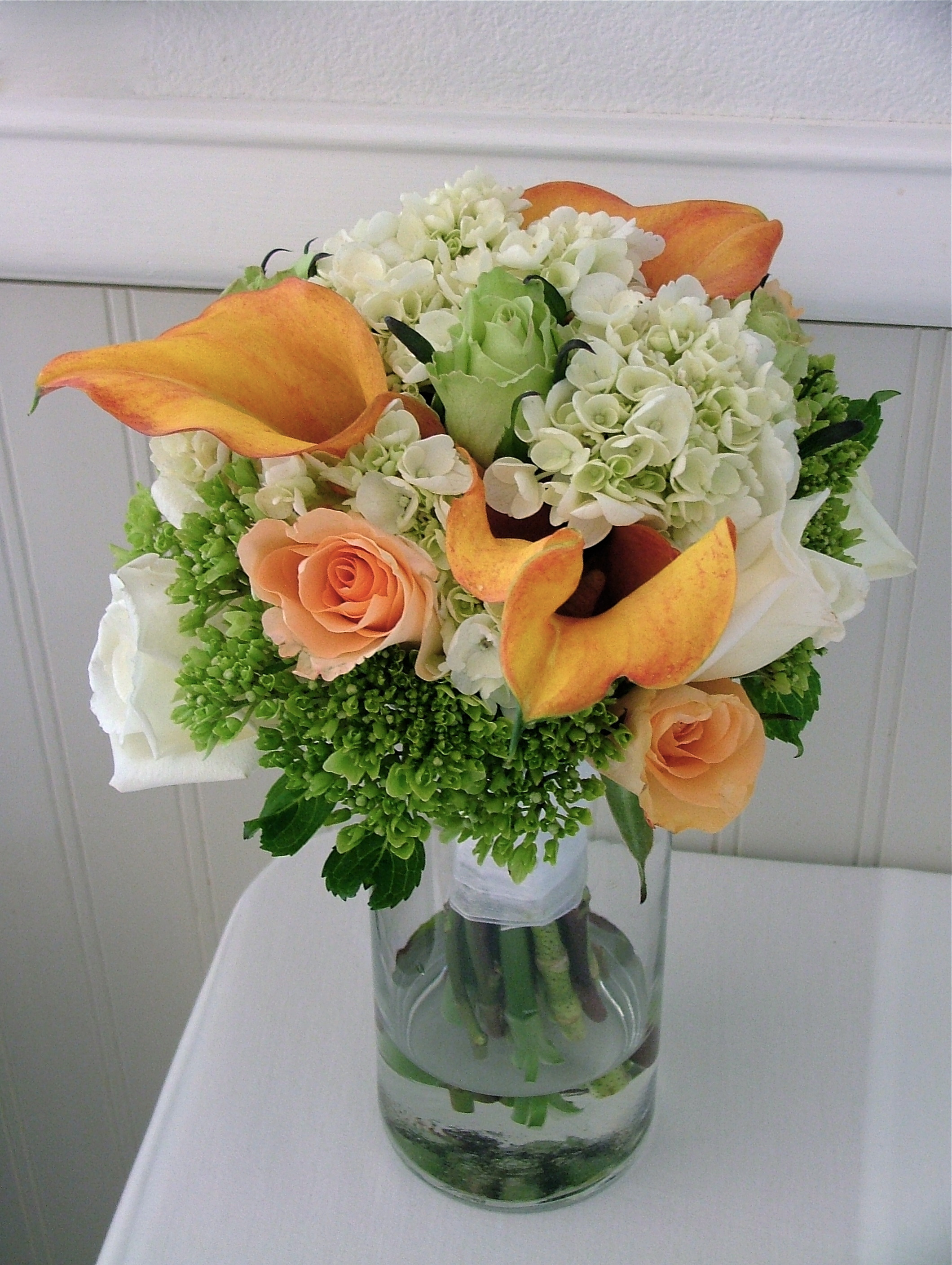 Rose Hydrangea, calla, bouquet by Jina Lee
