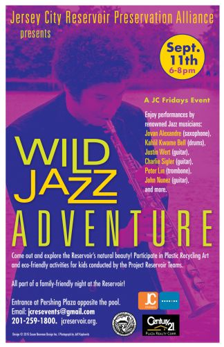 Jersey City Reservoir's Wild Jazz Adventure - Poster design by Susan Newman