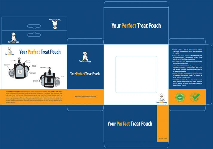 Your Perfect Puppy launches new dog treat bag. Product package design and diagram drawings by Susan Newman.