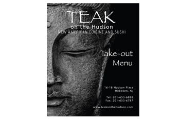 Teak Restaurant Hoboken, Menu Design