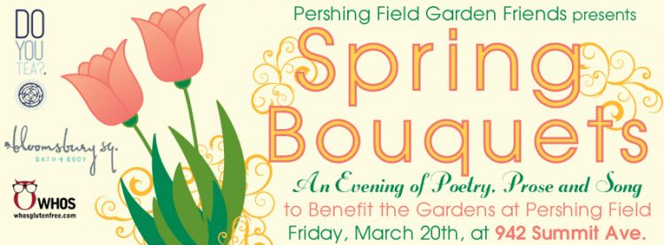 Spring Bouquets Fundraiser for Pershing Field Garden Friends, Poster design by Susan Newman
