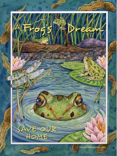 Frog Conservation poster - A Frog's Dream - Illustrated by Sherry Neidigh.