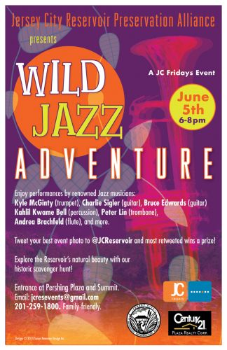 Wild Jazz Adventure at the Jersey City Reservoir - Poster design by Susan Newman