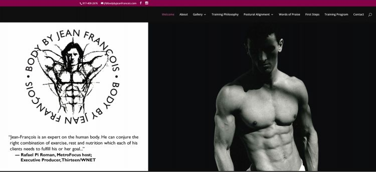 Body by Jean-Francois website design by Susan Newman of Jersey City