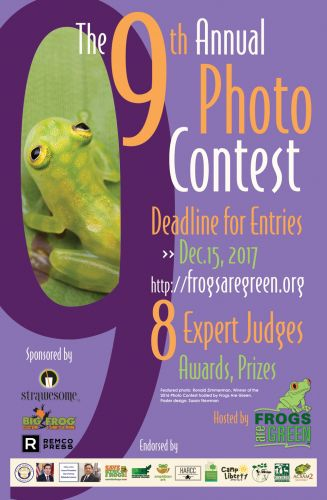 2017 Photo Contest hosted by Frogs Are Green - Poster design by Susan Newman, photo courtesy Ronald Zimmerman, 2016 winner