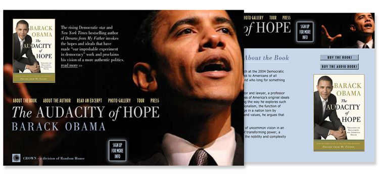 Barack Obama - Audacity of Hope website design