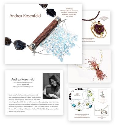 Andrea Rosenfeld lookbook design and postcard design