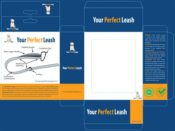 Your Perfect Puppy launches new Leash design. Package design and diagram drawings by Susan Newman