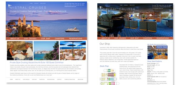 Mistral Cruises - website design and development