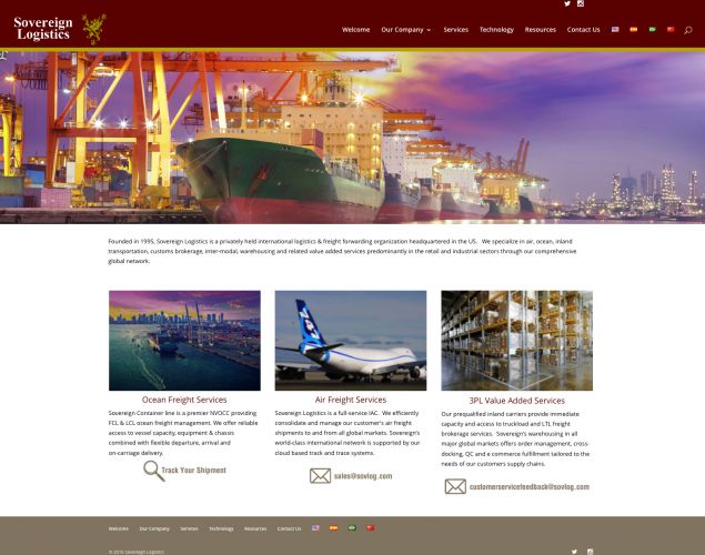 Sovereign Logistics website design by Susan Newman
