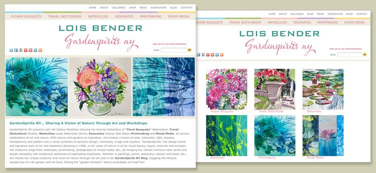 Lois Bender art - Gardenspirits NY - branding and web presence