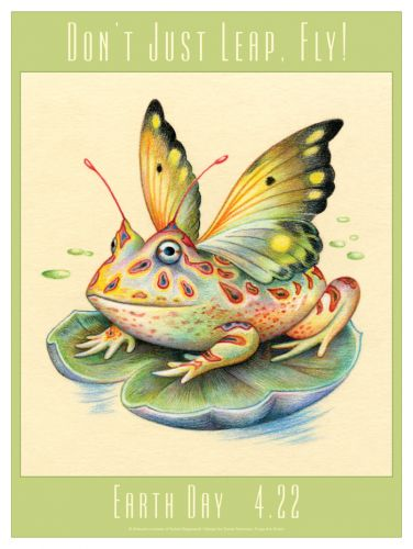Earth Day poster of winged frog illustrated by Sylvie Daigneault