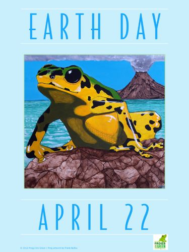 Frog poster for Earth Day - Illustrated by Frank Beifus