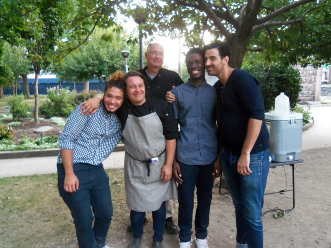 FeedJC team with Chef David Trotta (right) and Chef Alex Sartoga (second from left) in Pershing Field.