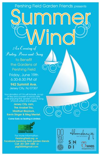 Summer Wind - An Evening of Poetry, Prose and Song to Benefit Pershing Field Garden Friends, Poster design by Susan Newman.