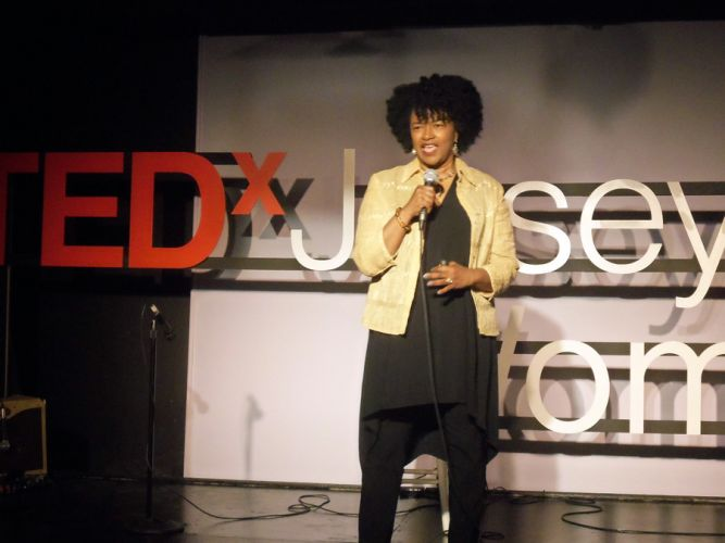 Dr. Ellis Williams at the TEDx Jersey City Women event, Momentum.