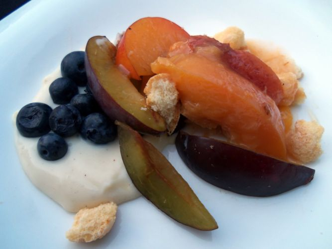 Dessert (yum) with pudding, plums, peaches, blueberries...